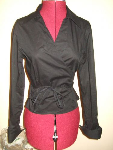 NEW Anne Fontaine Black Wrap KYTANA Stretch Shirt Blouse 3 uk 14